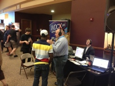Neil Boron from WDCX talking with Moe Badger, singer from Buffalo